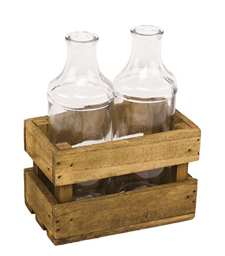 Vintage Clear Glass 2 Bottles In Wooden Crate Farmhouse Cottage ()
