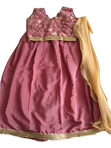 Elegant Attire Attractive Onion Color Crepe Lehenga Choli Girls 5 to 6 Yrs