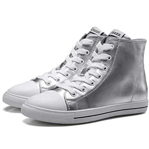 argento argento chiusa Sneakers da Scarpe ginnastica donna piatto Comfort da Punta Scarpe Bianco Tacco 7nOvw1