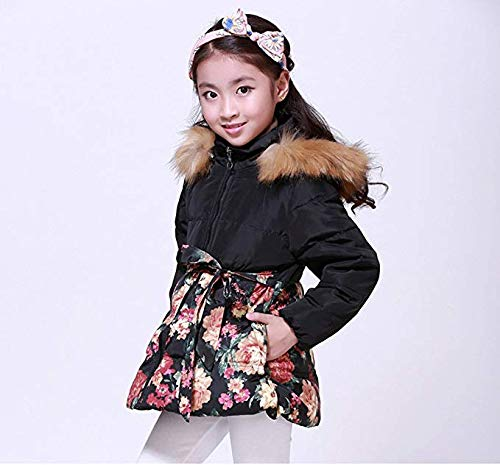 21ee4ce993e0 Amazon.com  SS CC Girls  Long Flower Printing Bowknot Winter Coat Hooded  Jacket