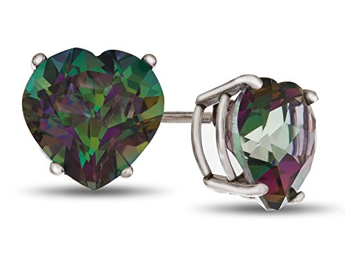 Finejewelers 6x6mm Heart Shaped Mystic Topaz Post-With-Friction-Back Stud Earrings Sterling ()
