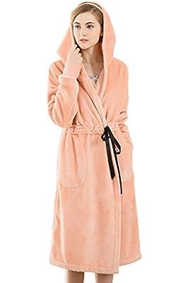 Lasher Women's Soft Warm Fleece Bathrobes Long Plush Hooded Sleepwear Robe