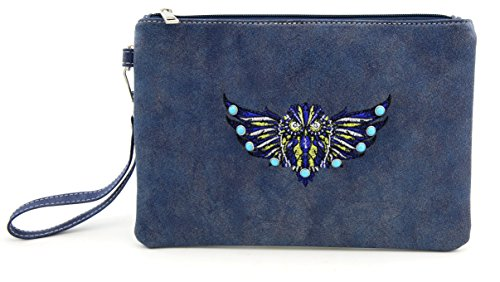 Palace Small Wallet PU Leather Pouch Waterproof Wristlet Wallet Clutch Bag Credit Card Holder Zipped Cell Phone Clutch for Cash/Coin/Credit Card 17343 (blue) (Leather Zipped Pouch)