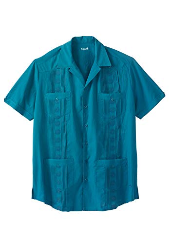 KS Island Men's Big & Tall Short-Sleeve Guayabera Shirt, Seaway Big-6XL ()