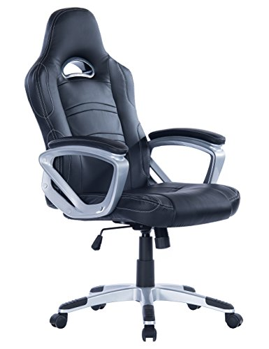 Killbee Large Ergonomic Gaming Chair  High Back Swivel  Executive Office Chair Height Adjustable PU Leather Bucket Seat Task Chair Over 400lbs Capacity (Black) by Killbee