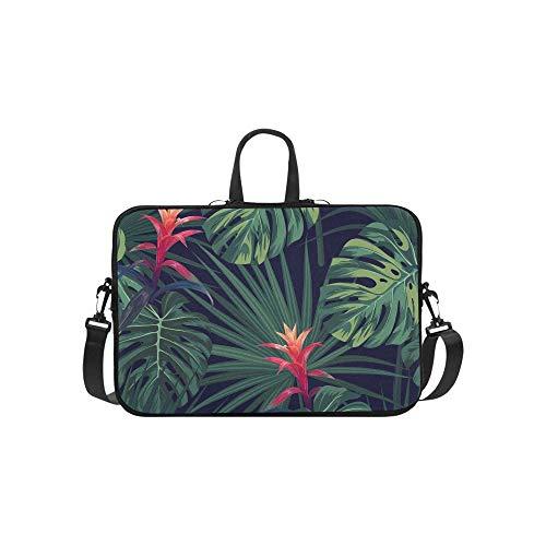 Tropical Palm Leaves Jungle Leaves Seamless Pattern Briefcase Laptop Bag Messenger Shoulder Work Bag Crossbody Handbag for Business Travelling