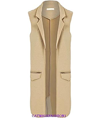 73d1167b697bda New Womens Ladies Raw Edge Sleeveless Open Jacket UK 10-14 BLACK CAMEL GREY  (M (UK 10-12)