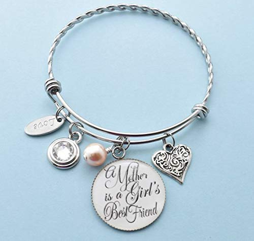 Amazon A Mother Is Girls Best Friend Bangle Charm Bracelet
