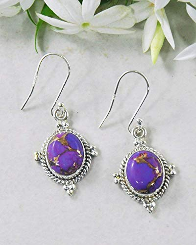 (Sivalya 3.00 Ct Natural Purple Turquoise Earrings in 925 Oxidized Sterling Silver, Genuine Gemstone Solid Silver French Hook Dangle Earrings 1.5