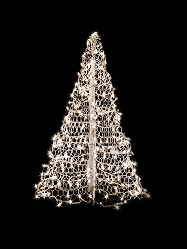 4' White Wire Crab Pot Christmas Tree with 300 Clear Incandescent Mini Lights by Crab Pot Christmas Trees