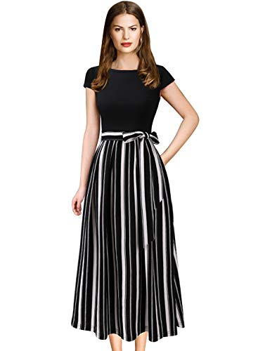 VFSHOW Womens Black and White Striped Print Patchwork Pockets Pleated Party Work Casual A-Line Midi Dress 2831 BLK L