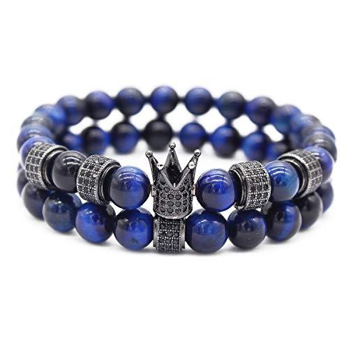 Gemfeel CZ Crown Bracelet for Men 8mm Blue Tiger Eye Stone Beads Bracelet Stack, 7.7