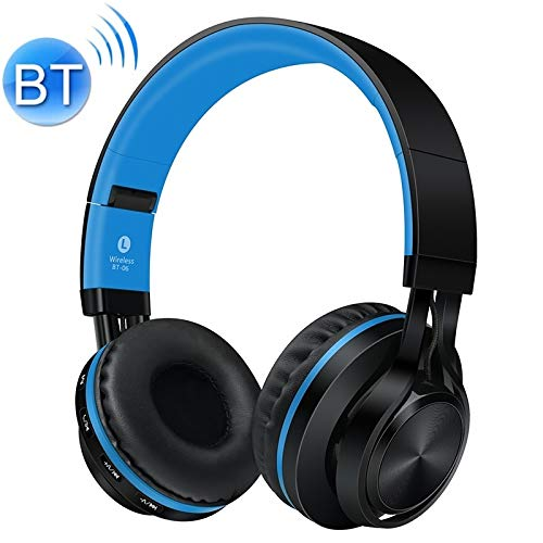 ZL-U Headphones BT-06 Over-Ear Wireless Headphones Adjustable Foldable Bluetooth Headset with Mic (Black) (Color : Black Blue)