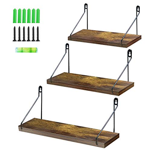 Amazing Roo Floating Shelves Wall Mounted Set of 3, Wood Wall Shelves with Black Metal Brackets, Storage Rack for Living Room/Kitchen/Bathroom/Bedroom/Office (Shelves Metal Wall Kitchen)