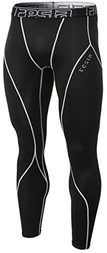 TM-YUP33-KLG_Medium Tesla Men's Thermal Wintergear Compression Baselayer Pants Leggings Tights YUP33