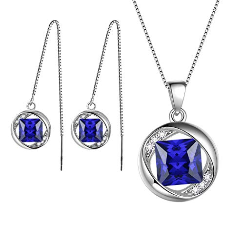 Aurora Tears September Birthstone Sets Jewelry Women 925 Sterling Silver Necklace/Earring Sets Crystal Sep. Birth Stone Jewelry Girls Birthday Gift DS0029S