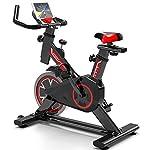 41N2Dalg%2BmL. SS150 LSYOA Indoor Cycling Cyclette, Spin Bike stazionario con Volano Cinghia, Supporto Tablet Supporto Smartphone & Comodo Sella,Black Red