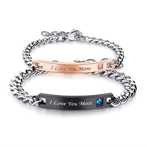 LAVUMO His Hers Couples Bracelets King and Queen Matching Set Anniversary Promise Gifts Stainless Steel 2pcs (I Love You More I Love You Most (1 Pair))