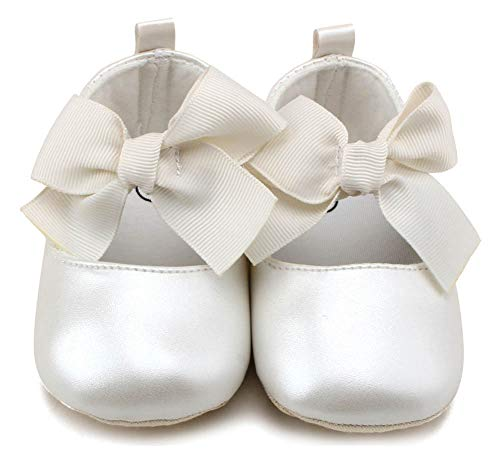 Dress White Infant Shoes - Anrenity Baby Girls Mary Jane Ballet Flats Shoes Toddler Infant Princess Dress Crib Shoes GZX-001WT White 0-6 Months
