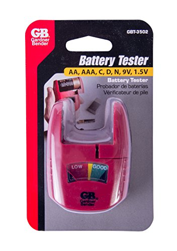 032076068660 - Gardner Bender GBT-3502 Household Analog Battery Tester, Extendable Arm, Easy Read Indicator, Tests: AA / AAA / C / D 9V / 1.5 V Button Cell / N Batteries, (Replaces GBT-502A) Red carousel main 2