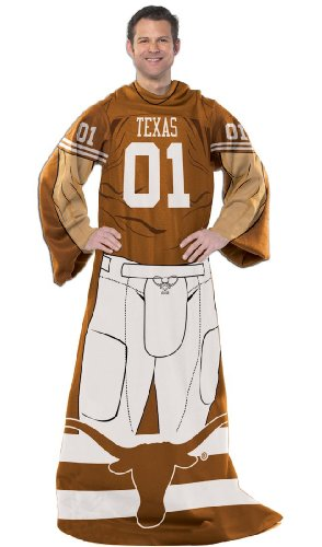 Officially Licensed NCAA Texas Longhorns Full Body Player Adult Comfy Throw Blanket, 48