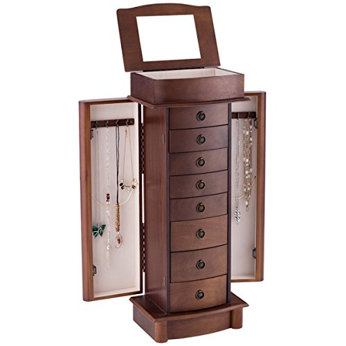Giantex Armoire Jewelry Cabinet Box Storage Chest Wood Walnut Finish Stand Organizer Wood with Side Doors and 8 Drawers - Classic Antique Style Chest