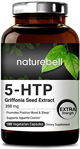 Maximum Strength 5-HTP 200mg, 180 Veg Capsules, Griffonia Seed Extract, Powerfully Promotes Positive Mood & Sleep, Non-GMO, Vegan Friendly and Made in USA