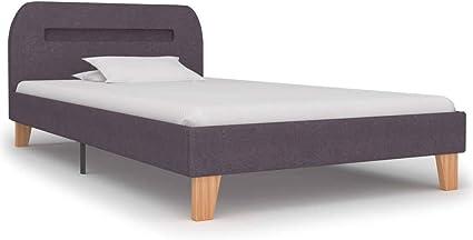 vidaXL Cama tapizada con LED, clásica, cama individual de matrimonio, dormitorio, estructura de cama, somier, cama de tela, color topo, 90 x 200 cm