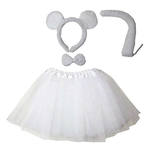 Ears Mouse White Costume (Kirei Sui Kids Costume Tutu Set White)