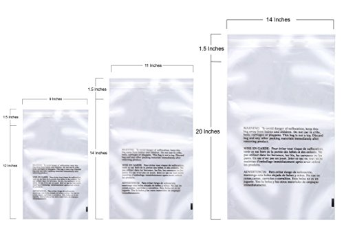 Retail Supply Co Large Combo Pack – 300 Clear Poly Bags with Suffocation Warning - 9x12, 11x14, 14x20 - Resealable