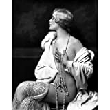 Quality digital print of a vintage photograph -Ziegfeld Girl Poses with Pearls. Black & White 11x14 inches - Matte Finish