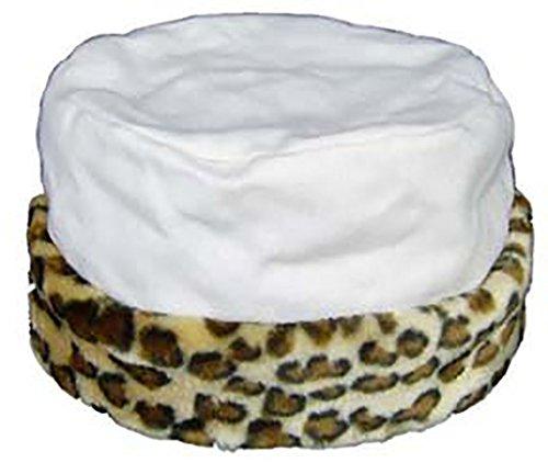 Leopard Trim Hat (Primal Instincts Wool Blend Hat with Faux Fur Leopard Trim,)