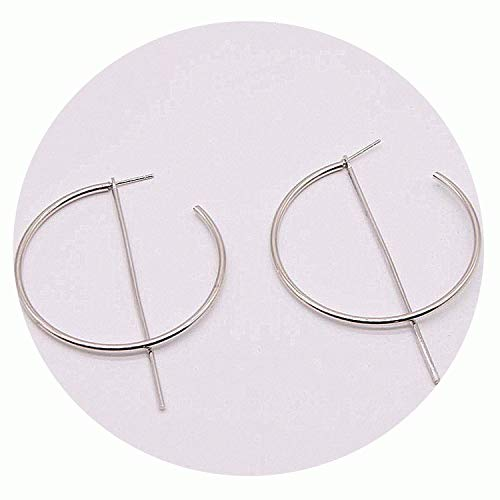 Crystal sugar Simple Fashion Gold Color Silver Plated Geometric Big Round Earrings for Women Fashion Big Hollow Drop Earrings Jewelry,Antique Silver Plated