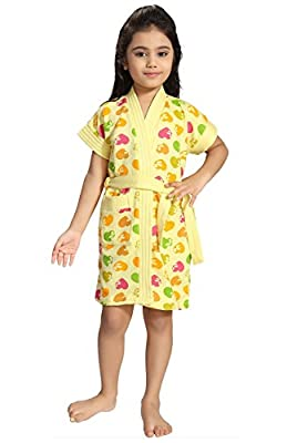 Be You Hearts Print Yellow Bath Robe for Kids