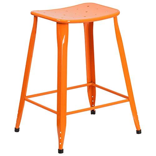 "Flash Furniture 23.75"" High Orange Metal Indoor-Outdoor Counter Height Saddle Comfort Stool"