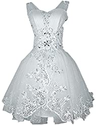 kxry Womens Short Wedding Dress Sparkly Tulle Crystal Ball Gown Bridal Glitters