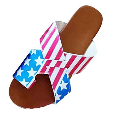 VESNIBA Fashion Vintage Lady Flag Print Thick Bottom Cross Toe Sandals and Slippers Blue