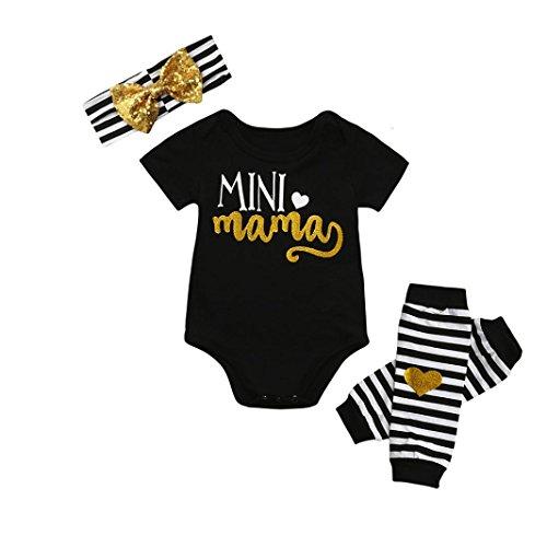Print Striped Headband (G-real Newborn Infant Baby Girls Golden Letter Print Romper Tops+Striped Leg Warmer+Bow Headband For 6-24M (Black, 6M))