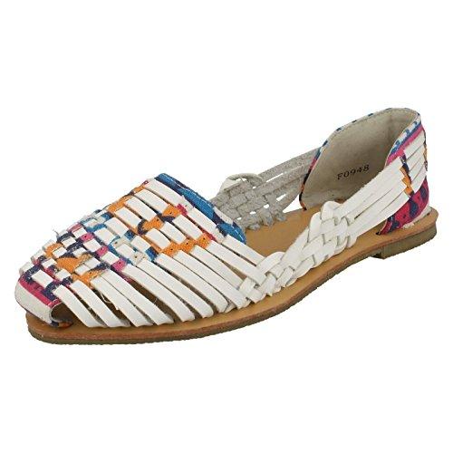 Womens Savannah Flat Weave Sandal White