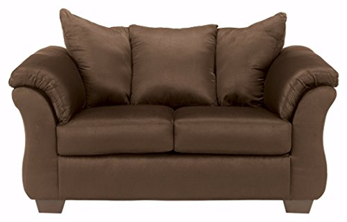 Ashley Furniture Signature Design - Darcy Love Seat - Contemporary Style Microfiber Couch - Cafe (Signature Cleats)