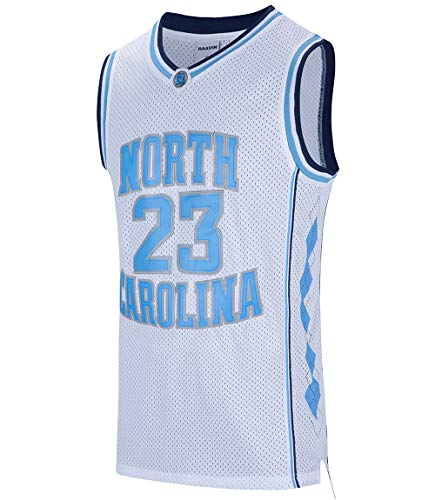 RAAVIN #23 North Carolina Mens Basketball Jersey Retro Jersey White S-3XL (White, X-Large) ()