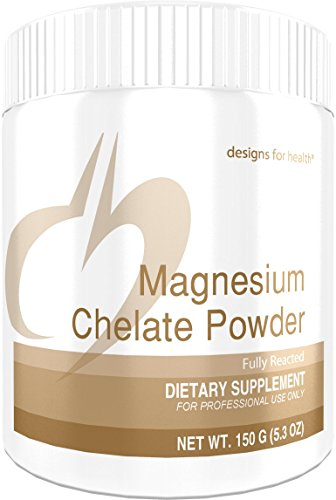 Health Magnesium - Designs for Health Magnesium Chelate Powder - 300mg Bisglycinate Chelate (150g, 30 Servings)