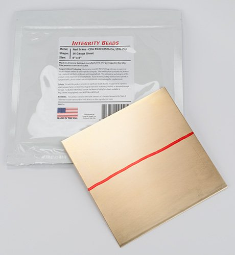 """Red Brass 16 Gauge Sheet - 6"""" x 6"""""""