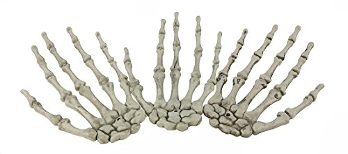 Set of 3 Scary Bone Skeleton Hand Claw For Halloween Props Haunted House Bar Decor Trick ()