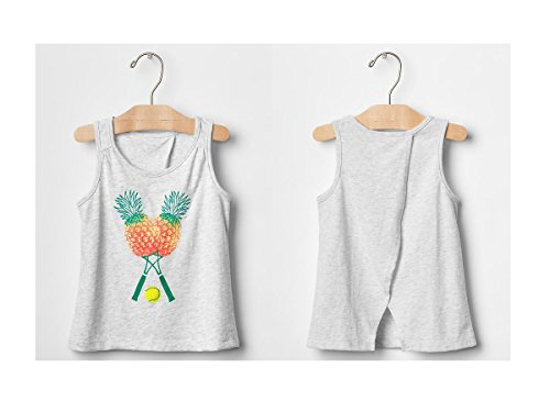 Gap Baby Girls Pineapple Embroidered Graphic Tulip-Back Tank Shirt (18 - 24 Months)