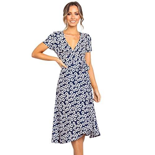 Aunimeifly Summer Boho Women's Sexy Deep V-Neck Dress Daisy Print Short Sleeve Bandage Midi Dress Sundress Blue