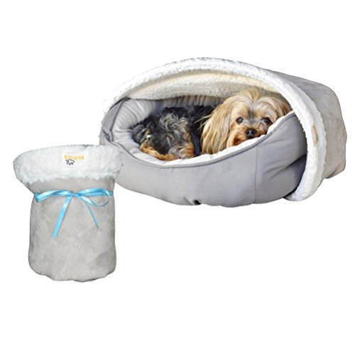 Blanket | for Dogs & Puppies | Naturally Relieves Stress, Separation Anxiety & Nervousness | Ultra Cozy & Plush | Attaches to Your Own Pet Bed | Grey, Small ()