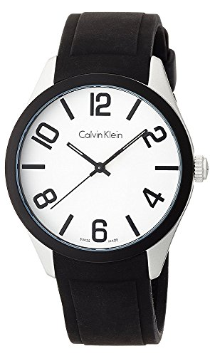- Calvin Klein Men's Aluminum Case Black Silicone Band Watch, K5E51CB2
