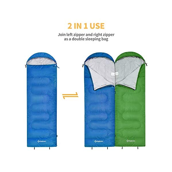 KingCamp Envelope Sleeping Bag 3 Season Spliced Adult Portable Lightweight Comfort with Compression Sack for Adults Kids Camping Backpack Temp Rating 44F 5