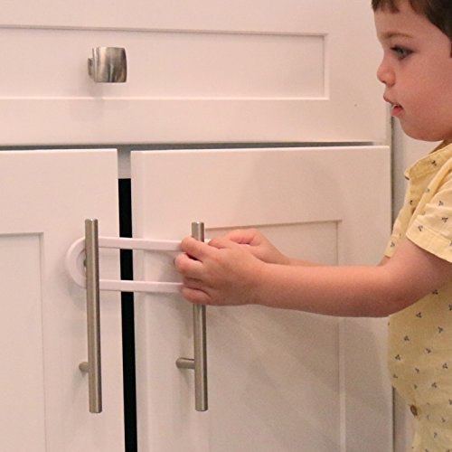 Child Safety Cabinet Locks Value Pack – Baby Proof Knobs, Handles, Doors – U Shape Sliding Safety Latch Lock by Jool Baby (8 Pack)
